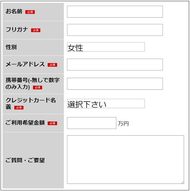 キャッシュチェンジ申込みフォーム