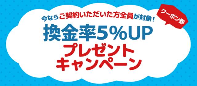 あんしんクレジットの換金率5%UPキャンペーンクーポン