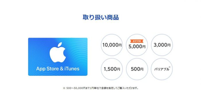 ソフトバンクオンラインショップitunesカード購入選択画面